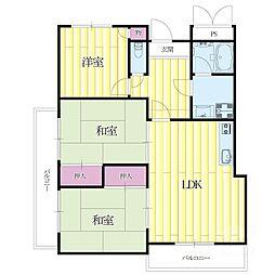 柿の木マンション[4階]の間取り