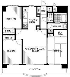 神奈川県厚木市厚木町の賃貸マンションの間取り