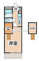 JR片町線(学研都市線) 野崎駅 徒歩16分の賃貸マンション 2階1Kの間取り
