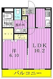 千葉県松戸市小金きよしケ丘4丁目の賃貸マンションの間取り