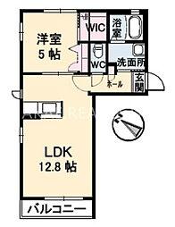 徳島県徳島市八万町法花谷の賃貸アパートの間取り