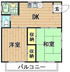 神奈川県川崎市高津区蟹ケ谷の賃貸アパートの間取り