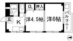 大阪府池田市神田1丁目の賃貸アパートの間取り