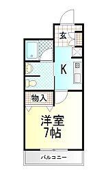 静岡県御殿場市東田中の賃貸マンションの間取り