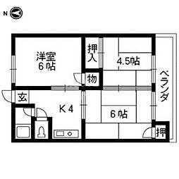 第1御所ノ内マンション[203号室号室]の間取り
