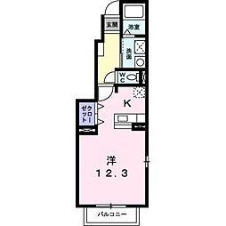 岡山県総社市井手の賃貸アパートの間取り