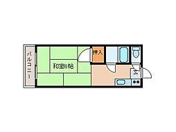 東京都品川区中延1丁目の賃貸アパートの間取り