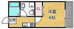リヴィラ御殿山 3階1Kの間取り
