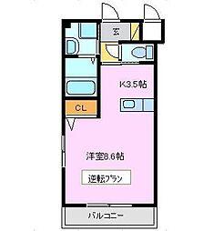 広島県東広島市西条下見6丁目の賃貸マンションの間取り
