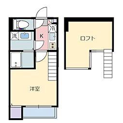 仙台市営南北線 旭ヶ丘駅 徒歩8分の賃貸アパート 2階1Kの間取り