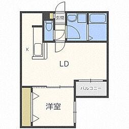 札幌市営南北線 麻生駅 徒歩6分の賃貸マンション 3階1LDKの間取り