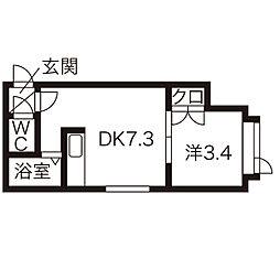 北海道札幌市中央区南8条西18丁目の賃貸アパートの間取り