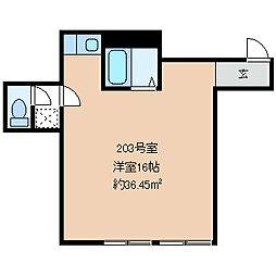 松本電気鉄道上高地線 新村駅 徒歩5分の賃貸マンション 2階ワンルームの間取り