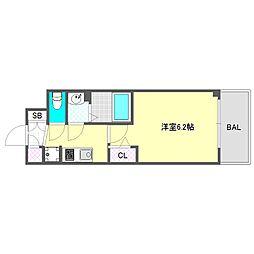 プレサンス大阪ドームシティスクエア 9階1Kの間取り