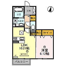兵庫県姫路市青山西の賃貸アパートの間取り