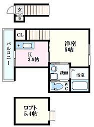 広島電鉄宮島線 修大協創中高前駅 徒歩10分の賃貸アパート 2階1Kの間取り