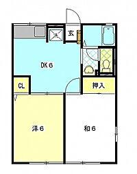 レトアイワザキ[1階]の間取り