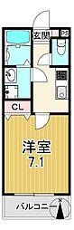 エステイトE長吉川辺 2階1Kの間取り