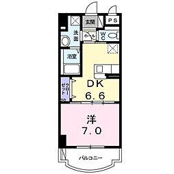 盛キャラバン 4階1DKの間取り