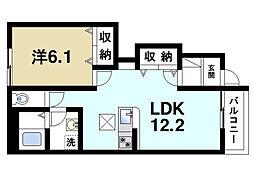 奈良県奈良市三碓6丁目の賃貸アパートの間取り