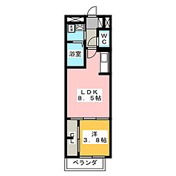 Evergreen Residence 3階1LDKの間取り
