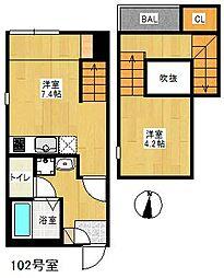 福岡県福岡市西区今宿3丁目の賃貸アパートの間取り