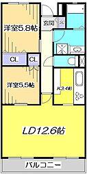 東京都国立市中3丁目の賃貸マンションの間取り