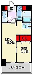 福岡県北九州市戸畑区明治町の賃貸マンションの間取り