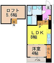 Manta ray 2階1SLDKの間取り