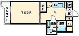 FIVETWO 6階1Kの間取り