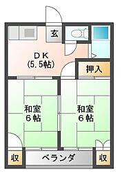 コーポタカセ[1階]の間取り