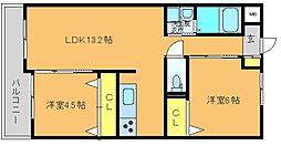 ワンズビル空港東II[205号室]の間取り