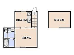 casa cozy 吉見園 2階1DKの間取り