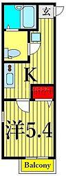 東京メトロ千代田線 町屋駅 徒歩5分の賃貸アパート 1階1Kの間取り