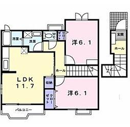 愛知県名古屋市天白区平針南2丁目の賃貸アパートの間取り