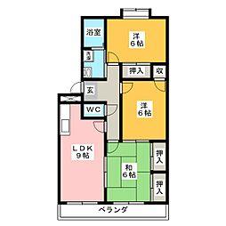 コーポ仲田[1階]の間取り