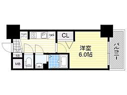 プレサンス新大阪ストリーム 15階1Kの間取り