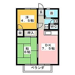 メゾンカルム富田 A棟[1階]の間取り