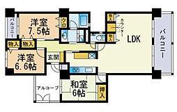 クリスタージュ弐番館 3階3LDKの間取り