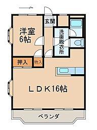クレスト中津(II) 3階1LDKの間取り