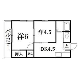 静岡県浜松市中区上浅田2丁目の賃貸アパートの間取り
