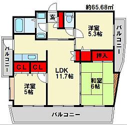 FARO戸畑駅前マンション[11階]の間取り