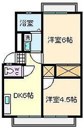 里彩ハイツ[2階]の間取り