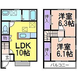 [テラスハウス] 栃木県鹿沼市千渡 の賃貸【/】の間取り
