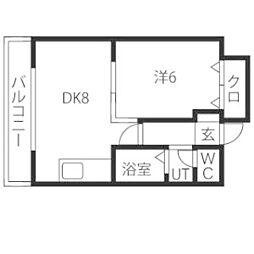 ドミローレル第8[6階]の間取り