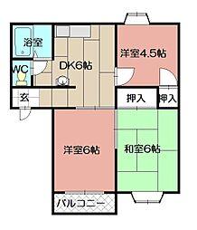 ドミールTAKAMI[102号室]の間取り