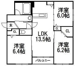 仮)オルセー厚別西A[405号室]の間取り