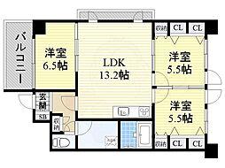 大阪モノレール本線 少路駅 徒歩15分の賃貸マンション 3階3LDKの間取り