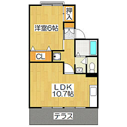 京都府京都市北区上賀茂松本町の賃貸アパートの間取り