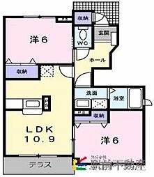 ラルジュ壱番館[1階]の間取り